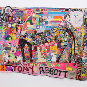 Paul Yore What a Horrid Fucking Mess 2016 mixed media: textile wall hanging 210 x 342 cm Purchased with Ararat Rural City Council acquisition allocation, 2016 Ararat Gallery TAMA Collection © and courtesy the artist