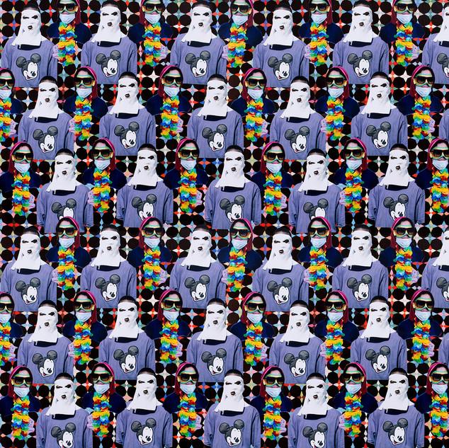"Jemima Wyman Propoganda Textiles - University student protesting President Jean Bertrand Aristide in Port-au-Prince, 21st February 2004 (Mickey Mouse sweater). Anti-government protester in Caracas, 4th March 2014 (sunglasses) Fabric Type: Basic Cotton UltraWidth:  42""Swatch: Blue Haiti Venezuela 02-04-03-1436P © the artist, courtesy the artist and Sullivan+Strumpf, Sydney / Singapore and Milani Gallery, Brisbane"