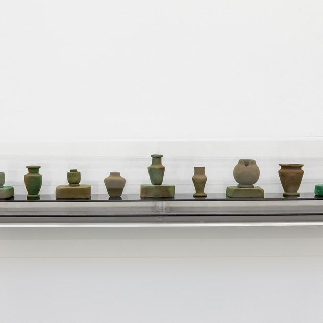 Catherine Bell Crematorium vessels 2012–13 floral foam vessels installation: 19 x 93 x 17 cm Courtesy the artist and Sutton Gallery, Melbourne Image Christian Capurro