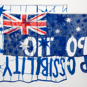 Raquel Ormella Poetic possibility #1, 2012 reworked flag, cotton, metal 200 x 240 cm Campbelltown City Council Collection © the artist