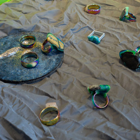 Debris Facility Pty Ltd Production Displacement 2018–2020 rubber, plastic, aluminium, sterling silver, vinyl, magnets, rope, stainless steel, clasps, Perspex, epoxy, pigment, perforated adhesive vinyl, photographic prints, printed polyester mesh dimensions variable Shepparton Art Museum Collection © the artist Image Christian Capurro
