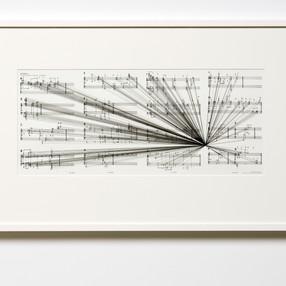 Marco Fusinato Mass Black Implosion (Material, Cornelius Cardew) (2007) ink on archival facsimile of score 59 x 92.5 cm (framed) Shepparton Art Museum, purchased (2011)