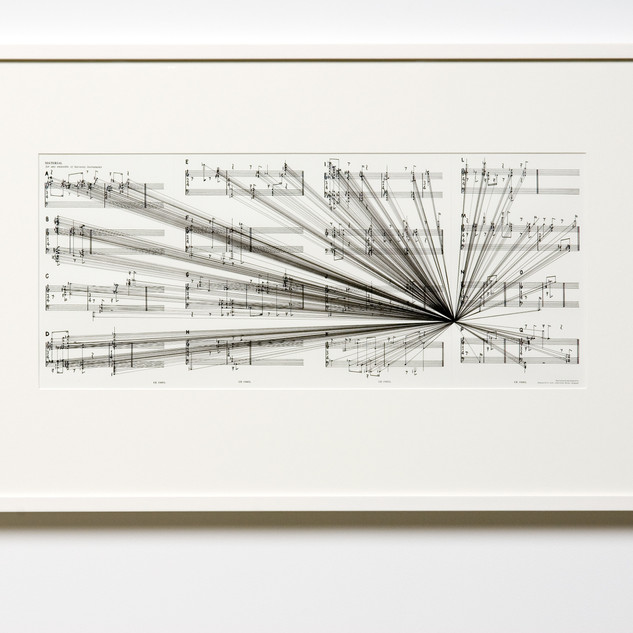 Marco Fusinato Mass Black Implosion (Material, Cornelius Cardew) (2007) ink on archival facsimile of score 59 x 92.5 cm (framed) Shepparton Art Museum, purchased (2011)