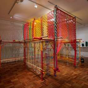 Slow Art Collective Archiloom 2018 yarn, rope, bamboo, recycled fabric, cable ties, scaffolding dimensions variable © and courtesy the artists Image Christian Capurro