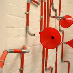 Saar Amptmeijer Analogue Chat, 2013 (detail)  pvc electrical conduit, funnels courtesy and © the artist