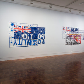 Exhibition installation view Raquel Ormella Poetic possibility #1, 2012 reworked flag, cotton, metal 200 x 240 cm Campbelltown City Council Collection  This dream, 2013 nylon 150 x 210 cm Collection Art Gallery of New South Wales, Sydney Rudy Komon Memorial Fund 2013  Return to the beginning 2013 nylon 250 x 375 cm Collection of The University of Queensland. Purchased 2014 © the artist image Christian Capurro