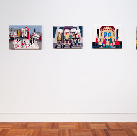 Kate Just Feminist Fan #1 (PUSSY: Casey at the Melbourne Pussy Riot Protest, 2012) 2015 hand-knitted wool and acrylic yarns, canvas, timber 38.1 x 50.8 cm  Feminist Fan #7 Chinese Feminist Five's 2012 Protest Against Domestic Violence in Beijing) 2015 hand-knitted wool and acrylic yarns, canvas, timber 40.6 x 45.7 cm  Feminist Fan #2 (Femen at the Hague, 2012) 2015 hand-knitted wool and acrylic yarns, canvas, timber 38.1 x 50.8 cm  Feminist Fan #3 (Pussy Riot at Moscow's Cathedral of Christ the Savior, 2012) 2015 hand-knitted wool and acrylic yarns, canvas, timber 38.1 x 50.8 cm  Feminist Fan #16 (Guerrilla Girls in New York City by George Lang, 1995) 2015 hand-knitted wool and acrylic yarns, canvas, timber 60 x 40 cm Artbank Collection © and courtesy the artist. Image Christian Capurro