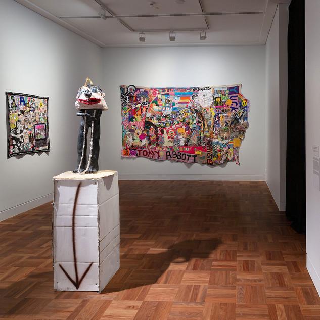 Installation view  Foreground: Ramesh Mario Nithiyendran. Pewter dickhead 2, 2015.  Recipient of the 2015 Sidney Myer Fund Australian Ceramic Award. Shepparton Art Museum Collection.  © the artist  Image Christian Capurro