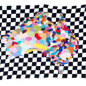 Paul Yore Map 2012 wool needlepoint 90 x 101 cm Wangaratta Art Gallery Collection
