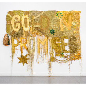 Wealth for toil #1, 2014 nylon, acrylic and glitter on hessian 325 x 260 cm QUT Art Collection. Purchased 2017 © the artist