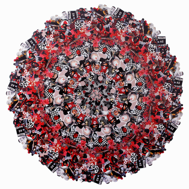 Jemima Wyman Aggregate Icon (RBW)—— (2016) hand-cut digital photographs 173 cm diameter courtesy the artist and Sullivan + Strumpf, Sydney / Singapore