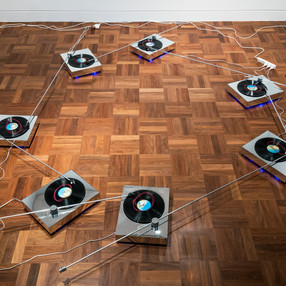 LOUD+SOFT  Turning the Tables: Future Tense (2017–) turntables, vinyl records, wire, metal, mirrored acrylic installation dimensions variable courtesy the artists