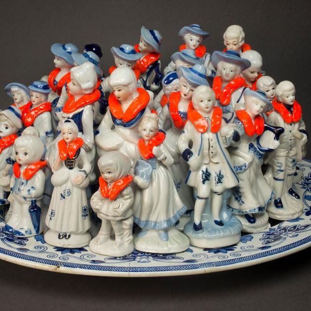 Penny Byrne  #EuropaEuropa 2015  antique porcelain serving platter, vintage porcelain figurines, epoxy putty, epoxy resin, enamel paints  26 x 50 x 41 cm  Darebin Art Collection