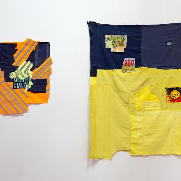 Raquel Ormella Blockade in my studio for the Pilliga Forest #1 2018 cloth-backed embroidery 150 x 90 cm  Blockade in my studio for the Pilliga Forest #2 2018 cloth-backed embroidery 150 x 90 cm © the artist, courtesy the artist and Milani Gallery, Brisbane Image Christian Capurro