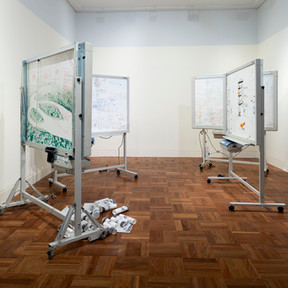 Raquel Ormella Wild rivers: Cairns, Brisbane, Sydney, 2008 4 whiteboards, thermal paper, Texta marker pens (Image of Wenlock River by Kerry Trapnell, with kind permission) dimensions variable Monash University Collection. Purchased 2008 © the artist Image Christian Capurro