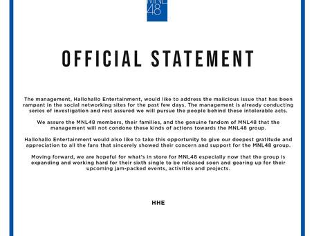 HHE, iimbestigahan ang nangyaring harassment sa MNL48 sa Facebook