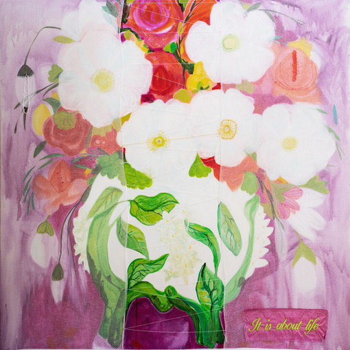 I grew you flowers,183 cm x 183 cm,mixed media ,hand stitching on canvas.JPG