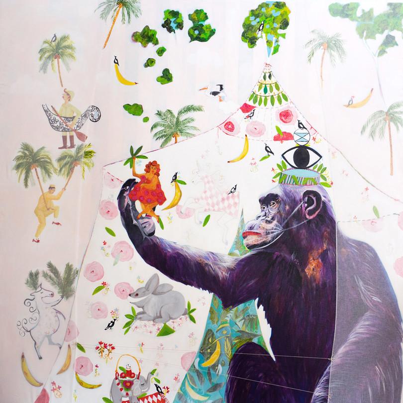 extinction rebellion,183 cm x 183 cm,mixerd media on canvas.JPG