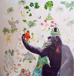 extinction rebellion, insta 183 cm x 183 cm,mixerd media on canvas.JPG