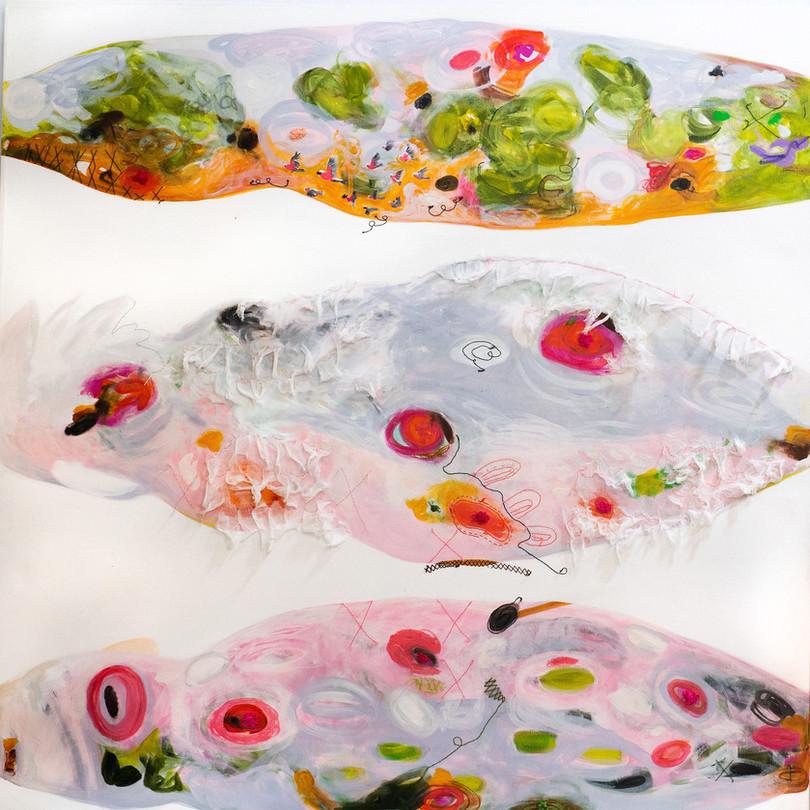flying galahs,183 cm x 183 cm , mixed media ,hand stitching on canvas.JPG