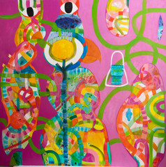 no 4. Quirky love, 183 cm x 183 cm,mixed media on canvas,hand stitching,silk.JPG