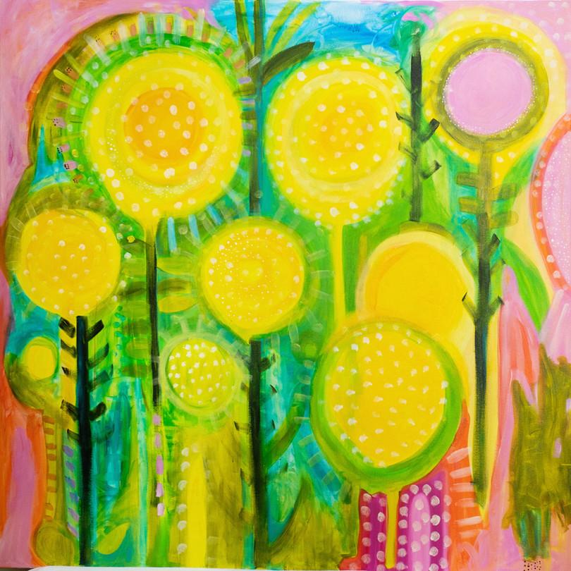 yellow buton raindance183 cm x 183 cm, synthetic polymer on canvas.JPG