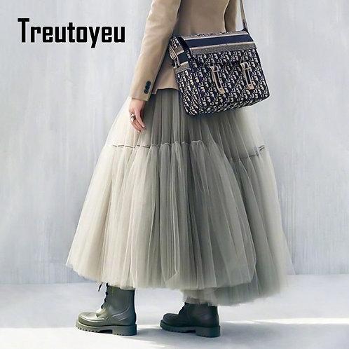 Treutoyeu Vintage Gothic Black White Pleated Long Tulle Skirt Tutu Femme High