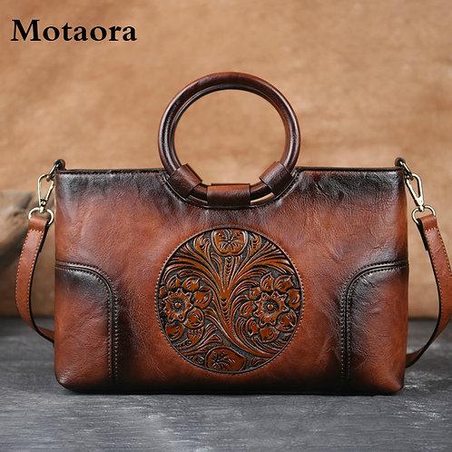 Retro Handmade Embossed Shoulder Bag Women Large Capacity Female Messenger Bags