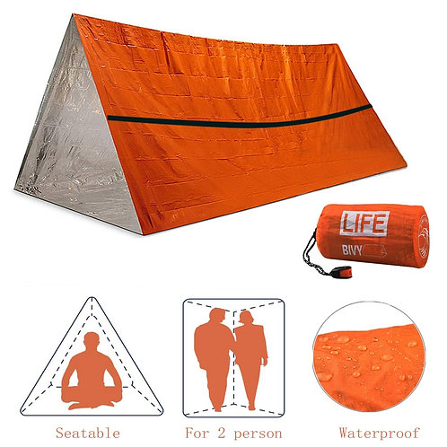 2 Person Emergency Shelter Waterproof Thermal Blanket Rescue Survival Kit SOS