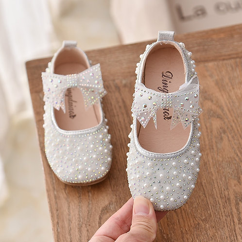 Sweet Grils Elegant Pearls Cute Bowtie Diamond Velcro Leather Shoes 1-8 Years