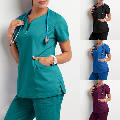 Scrub Top for Women Solid Short Sleeve