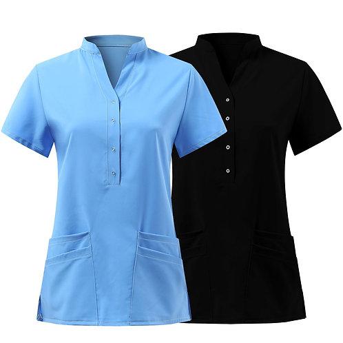 Nurse Uniform Short Sleeve V-Neck Button Tops