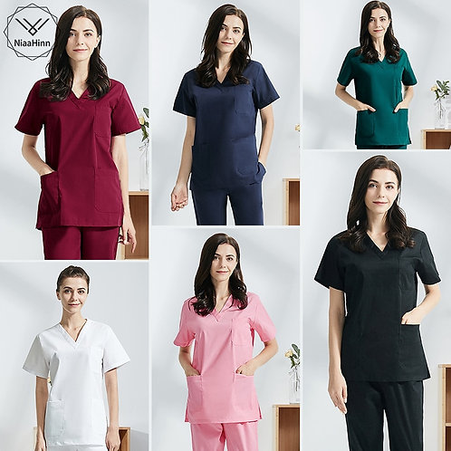 Hospital Operating Room Black Blue Nurse/Doctor Scrubs Set