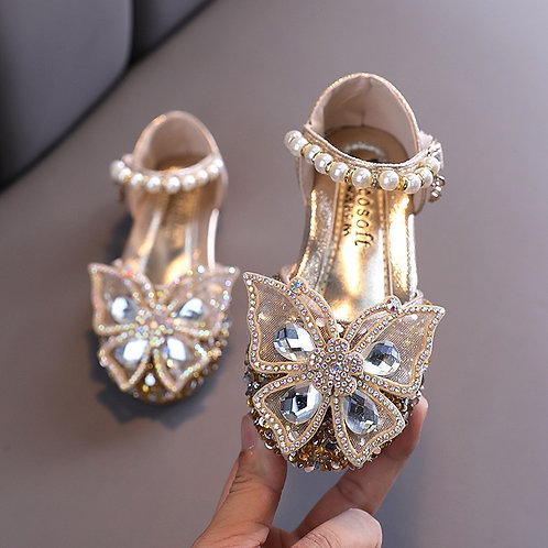 Korean Style Sweet Girls Sandals Bling Rhinestone Butterfly Shoes2-18 Years