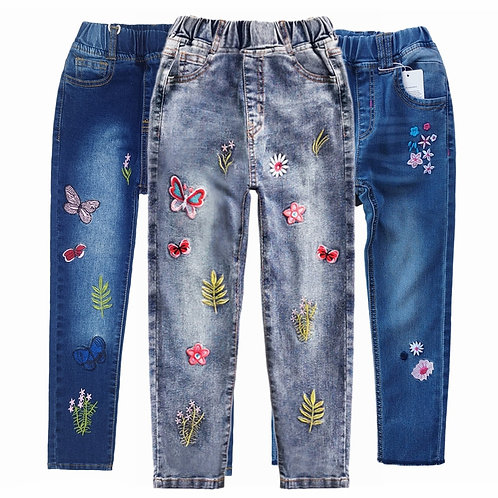 Chumhey Girls Jeans Spring 100% Cotton Stretchy Soft Denim Pants Kids Trousers
