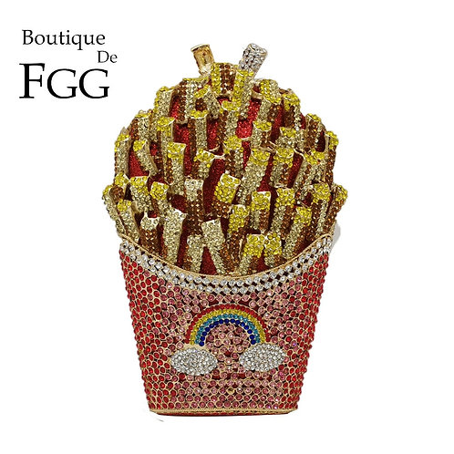 French Fries Crystal Evening Bag Diamond Wedding Handbag Bridal Purse