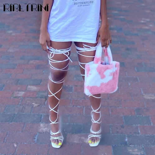 SaraIris 2021 New Women Gladiator Knee High Sandals Lace Up Cross Strappy