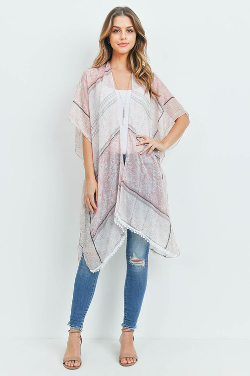 Hdf3181 - Laced Open Front Kimono