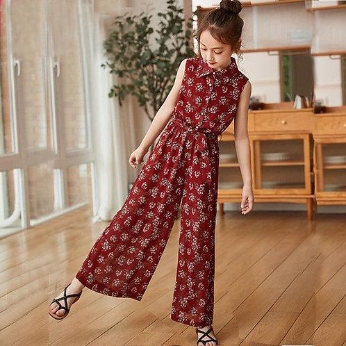 Teenage Girls Clothing Suit Summer Children's Floral Chiffon Tops Wide Leg Pants