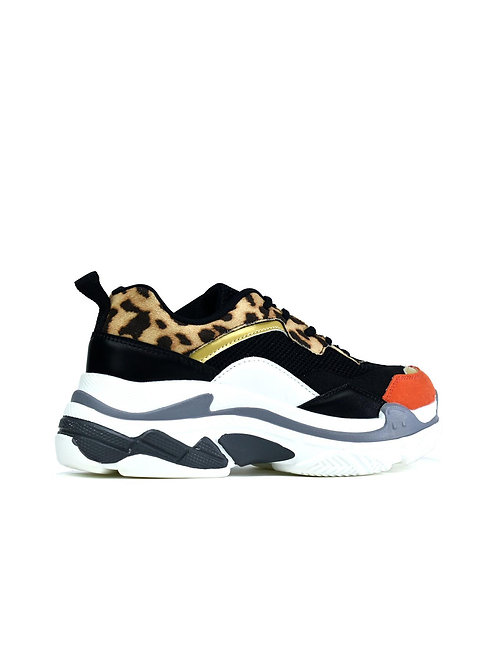 The Chunky Trainer Black/Leopard