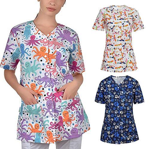 Scrubs Women Uniform Short Sleeve V-Neck Cardigan