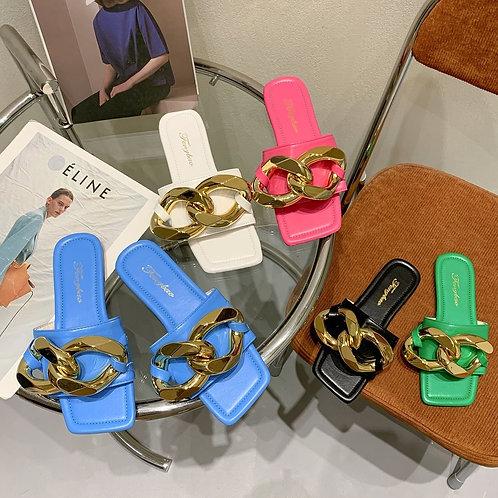 2021 Summer Women Metal Chain Flats Slides Female Blue Slippers