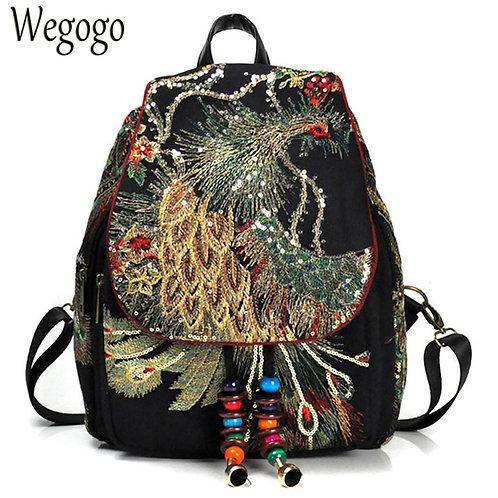 New Vintage Backpack Embroidery Peacock Phoenix Sequin Rucksack