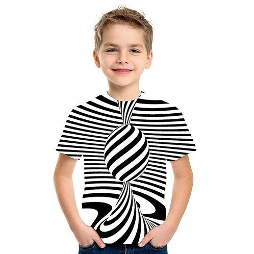 New Swirl Short Sleeve T-Shirt Summer Kids T Shirt Casual Top 3D T-Shirts