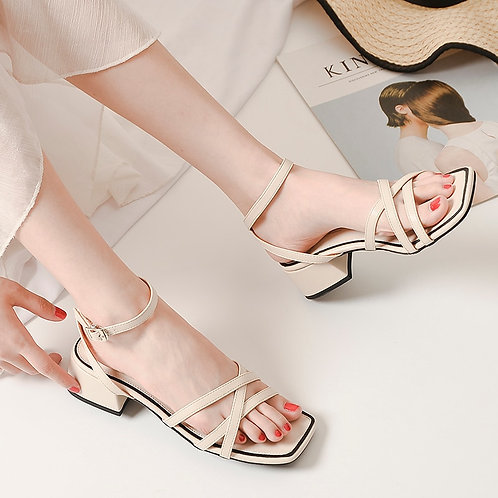 Summer 2021 Women's High-Heeled Sandals With Thin Straps, Thick Heels, Square
