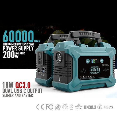 200W 110V 220V Home Portable Solar Inverter Generator Energy Storage UPS Camping