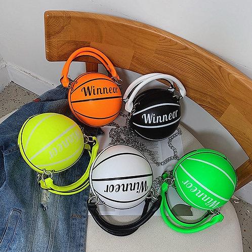 Basketball-Shaped Crossbody Bag Women PU Leather Round Messenger Bag Handbag