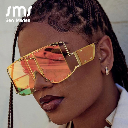 Fashion Square Sunglasses Women New Oversized Mirror Men Shades Glasses Luxury