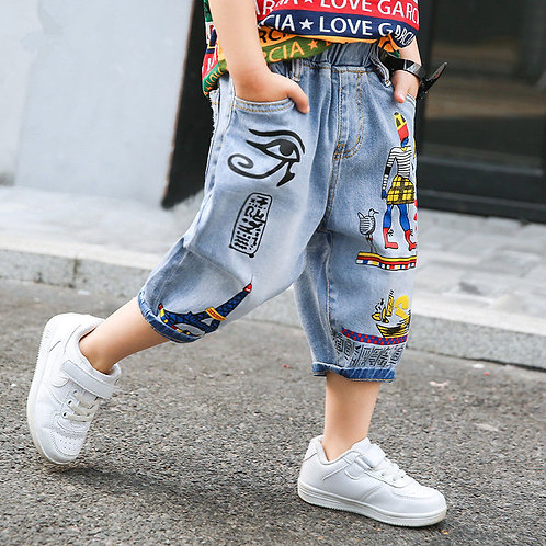Summer Baby Boys Loose Jeans Kids Calf-Length Trousers Fashion Pattern Children