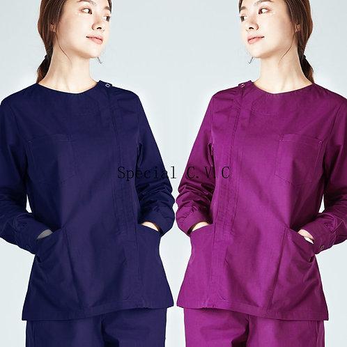 Scrub Top Long Sleeve Workwear Cotton Big Pockets Nursing Uniforms Night Shift